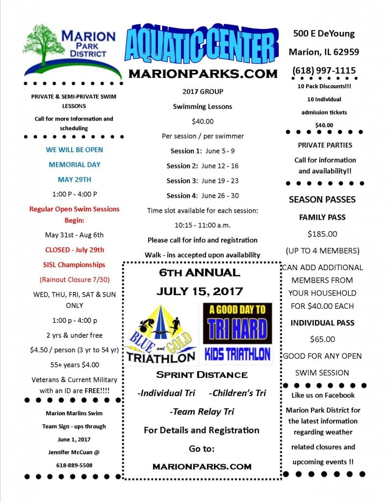 2017 Aquatic Center Flyer